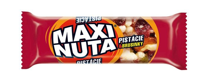 MAXI NUTA nut bar with pistachios, cranberries and honey, half coated in yoghurt compound (35g)