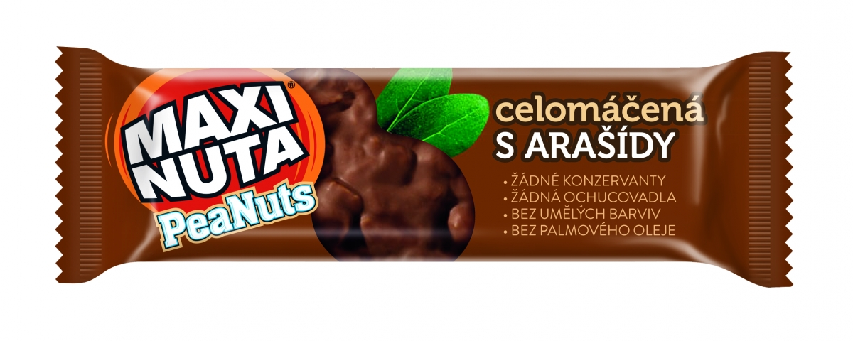 Maxi Nuta nut bar with peanuts coated in milk chocolate