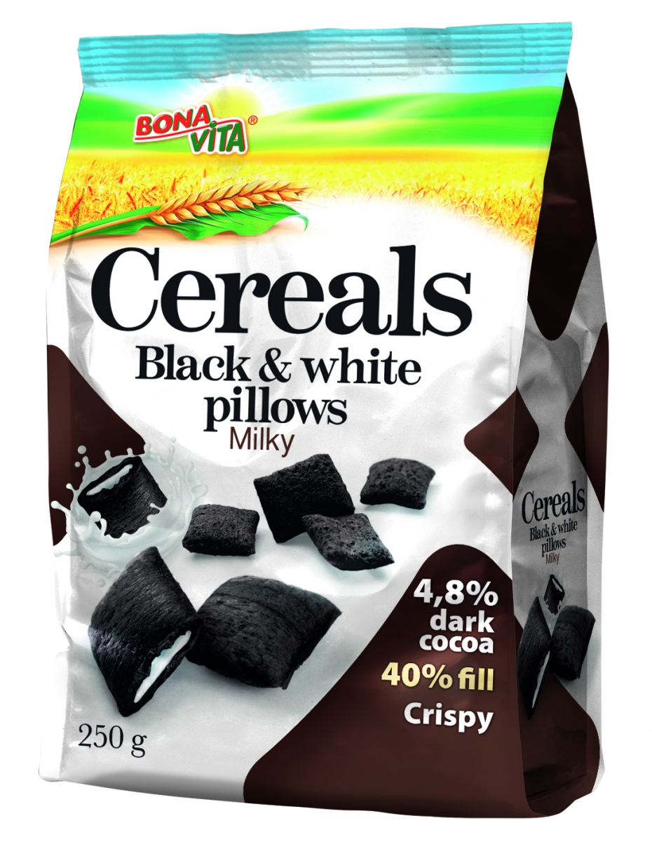 Cereal Black & White pillows with milk filling