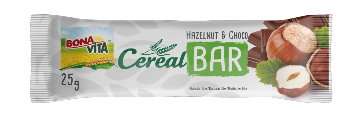 Granola bar with hazelnut flavour and milk chocolate 25g