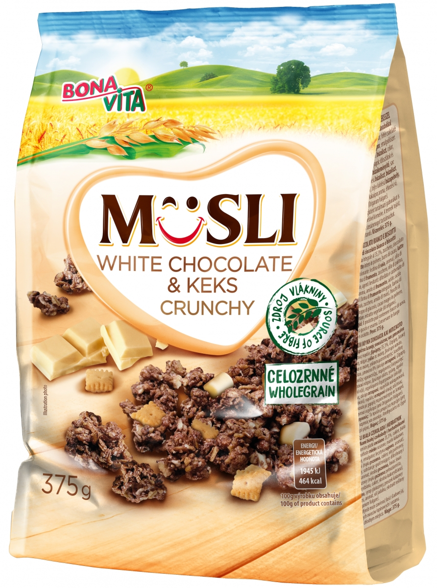 Muesli with white chocolate & keks 375g
